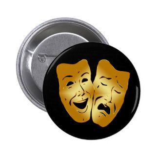 HAPPY AND SAD THEATER MASKS PINBACK BUTTON