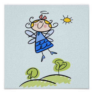 Happy Angel Fairy Jumping and Dancing Outside Poster