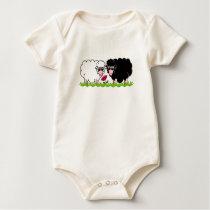 Happy Animal - Snowie & Blackie Sheeps Baby Bodysuit