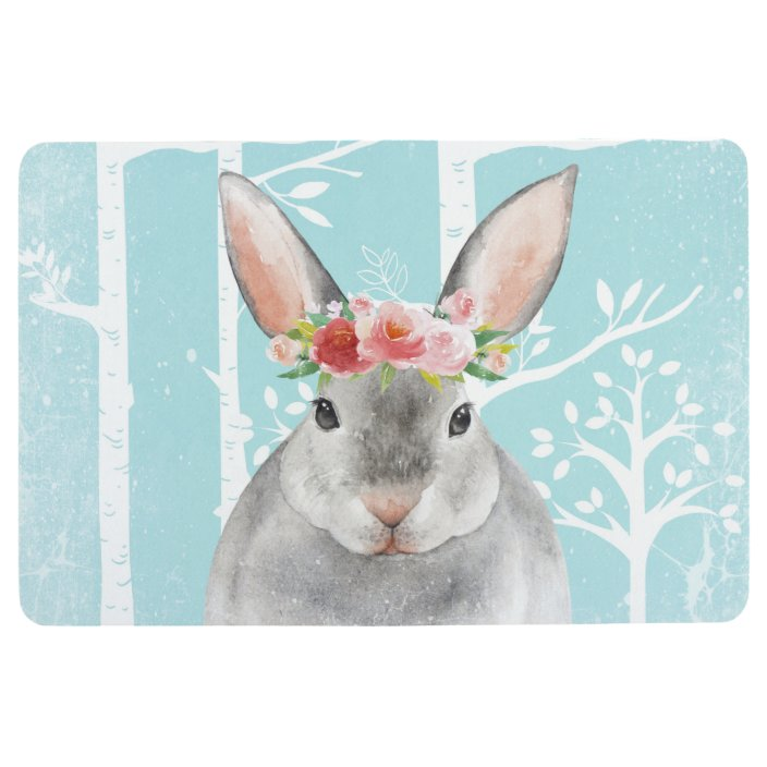 Happy Animal With Flowers In Blue Forest Bunny Floor Mat Zazzle Com
