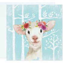 Happy Animal with Flowers in Blue Forest-Sheep Card