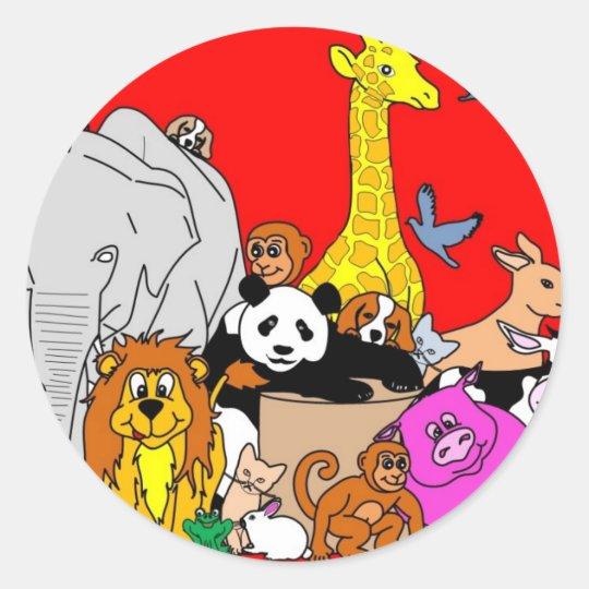 Happy Animals Classic Round Sticker