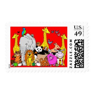 Happy Animals Postage Stamps