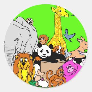 Happy Animals Round Sticker