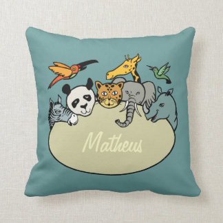 happy animals zoo family personalized throw pillows