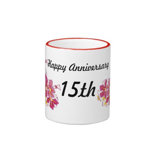 Happy Anniversary 15th Ringer Coffee Mug