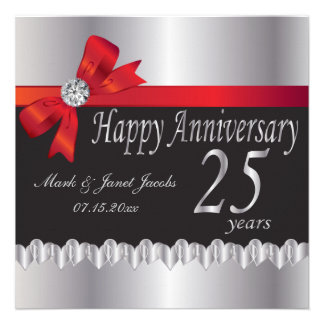 Happy Anniversary 25 Years Personalized Invitation
