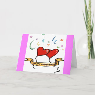 Happy Anniversary and Heart balloons Card
