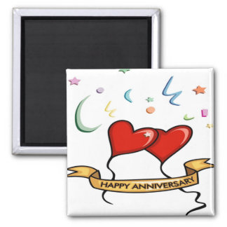 Happy Anniversary and Heart balloons 2 Inch Square Magnet