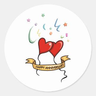 Happy Anniversary Banner Classic Round Sticker