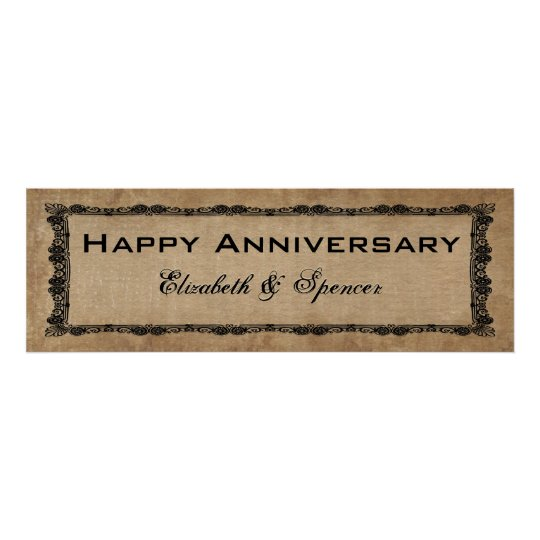 happy anniversary banner type poster zazzle com