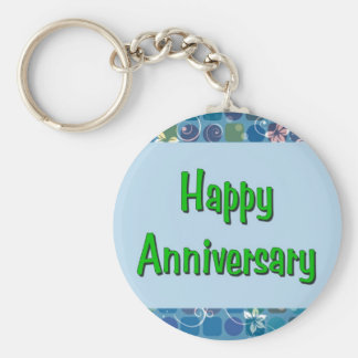 Happy Anniversary Basic Round Button Keychain