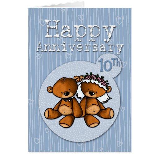 happy anniversary bears - 10 year greeting card