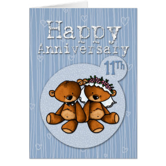 happy anniversary bears - 11 year greeting card
