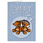 happy anniversary bears - 11 year greeting card