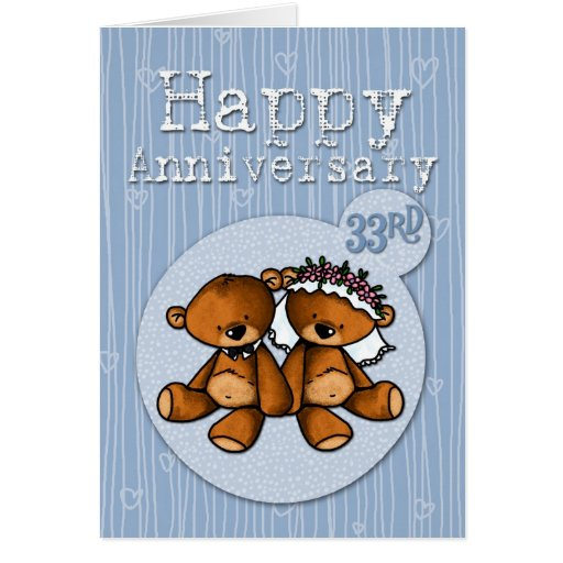 happy anniversary bears - 33 year greeting card