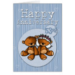 happy anniversary bears - 53 year greeting card