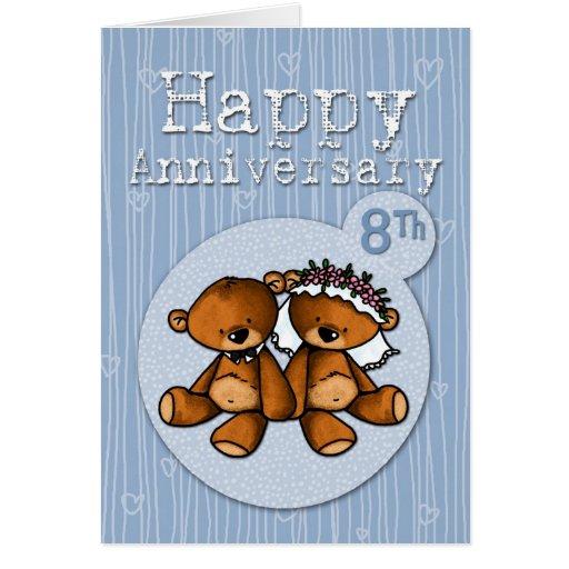 happy anniversary bears - 8 year greeting cards