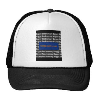 Happy Anniversary  Blue Gold White Black GIFTS Hats