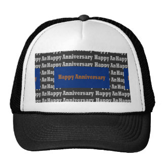 Happy Anniversary  Blue Gold White Black GIFTS Trucker Hat