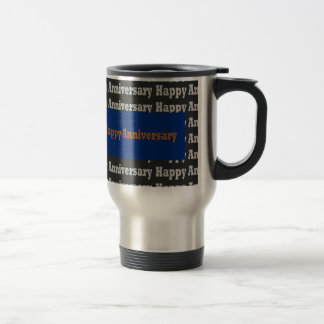 Happy Anniversary  Blue Gold White Black GIFTS Coffee Mug