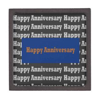 Happy Anniversary  Blue Gold White Black GIFTS Premium Trinket Box