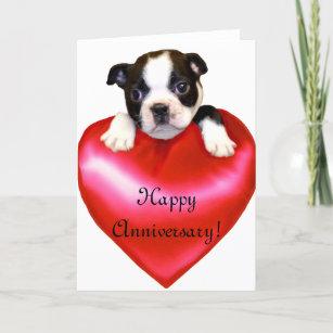 Felt Heart Applique  Envelope  I Love You Boston Terrier Dog Valentine/'s Day Card  Heart Balloon Printed Card Happy Valentine/'s Day