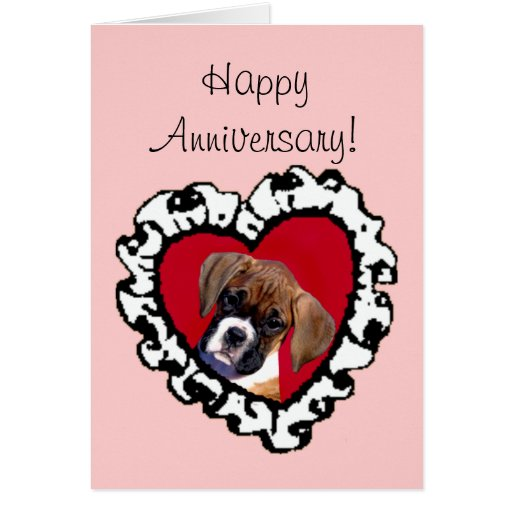 Happy anniversary boxer puppy greeting card zazzle