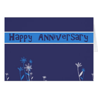 happy anniversary business blue card