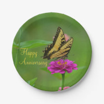 Happy Anniversary Butterfly Paper Plate