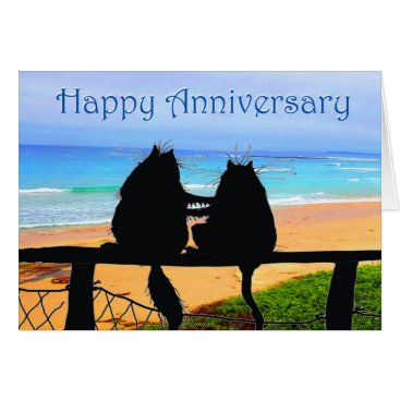 Beach Themed Happy Anniversary, cats silhouette, beach. Card