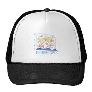 """Happy Anniversary"" Champagne design Mesh Hats"