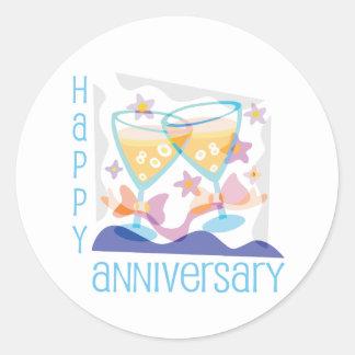 """Happy Anniversary"" Champagne design Round Stickers"