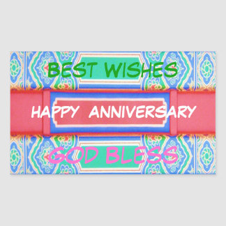Happy Anniversary - Chinese Lucky Colour Pattern Rectangular Sticker