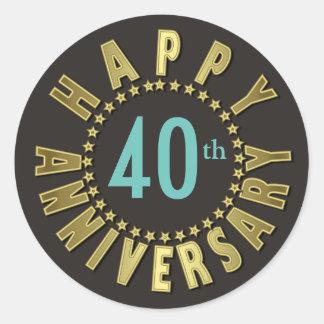 Happy Anniversary Circle of Stars Gold ID173 Classic Round Sticker