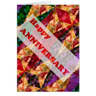 HAPPY ANNIVERSARY : Colorful script n Art Card