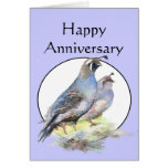 Happy Anniversary Cute California Quail Birds Card