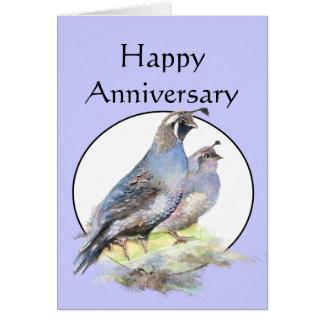 Happy Anniversary Cute California Quail Birds Greeting Card