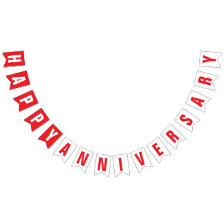 HAPPY ANNIVERSARY DECOR, RED + WHITE BUNTING FLAGS