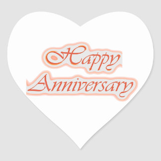 HAPPY Anniversary : Elegant Text  Background Color Heart Sticker