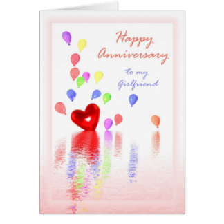 Happy Anniversary for Girlfriend -Heart & Balloons Card