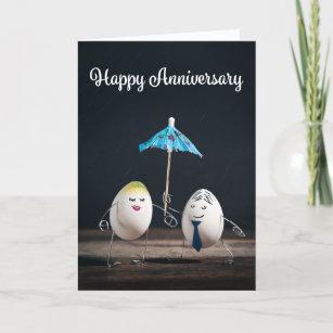 Happy Anniversary Funny Egg Couple Humor Holiday Card