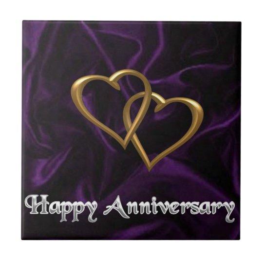 Happy Anniversary - Gold rings on purple Ceramic Tile
