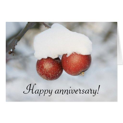 Happy anniversary greeting card - winter apples | Zazzle
