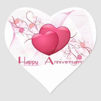 Happy Anniversary Hearts Heart Sticker