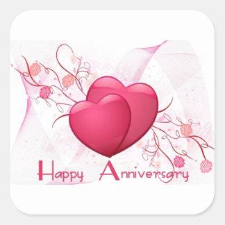 Happy Anniversary Hearts Square Stickers