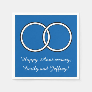 Happy Anniversary in Blue: Rings Name Customizable Napkin