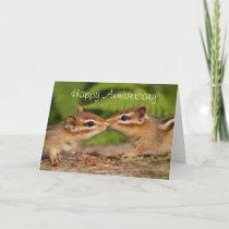 Happy Anniversary Kissing Baby Chipmunks Card
