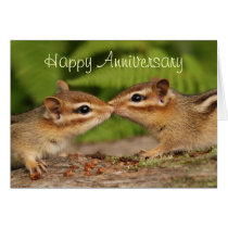 Happy Anniversary Kissing Baby Chipmunks Card