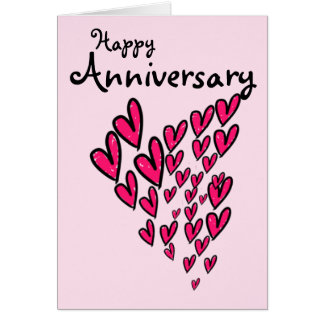 Happy anniversary lots of pink hearts on pink card